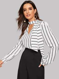 Keyhole Mock Tie Neck Striped Pullover Blouse