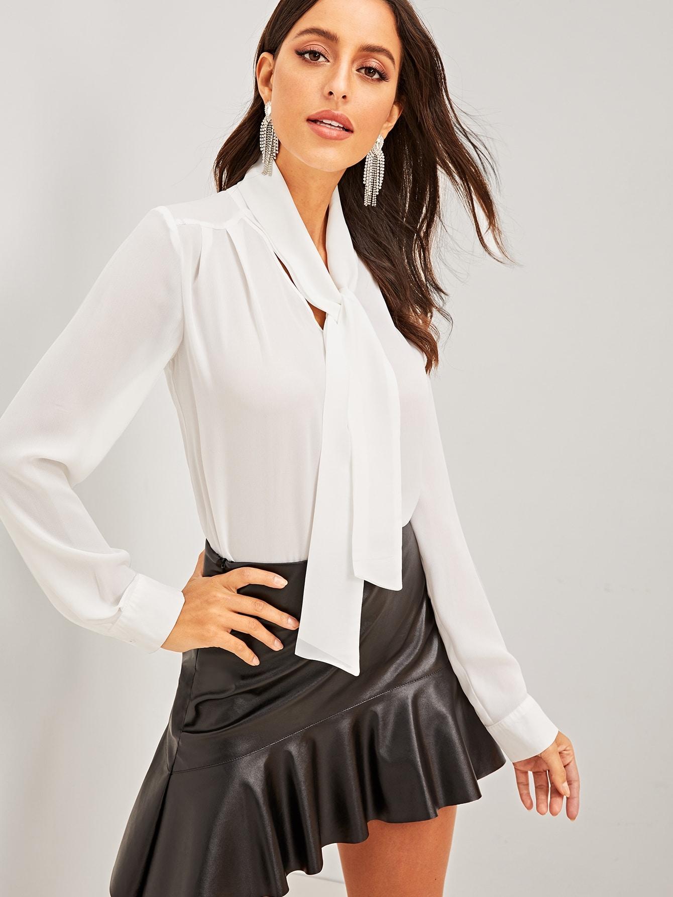 Купить Однотонная блуза с завязкой на шее, Mary P., SheIn