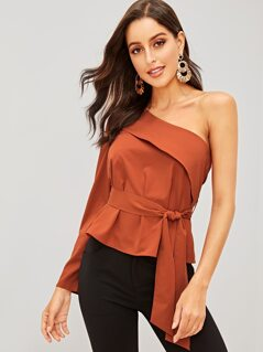 Foldover One Shoulder Belted Top