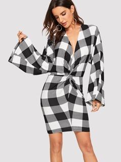 Plunging Neck Twist Front Plaid Dress