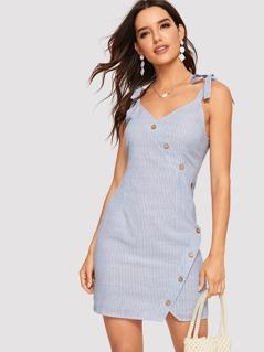 Asymmetric Button Knot Strap Striped Cami Dress