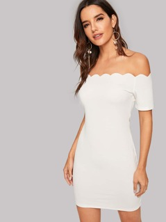 Scallop Off Shoulder Bodycon Dress