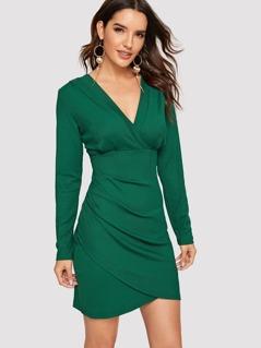 Wrap Neck & Hem Rib-knit Dress