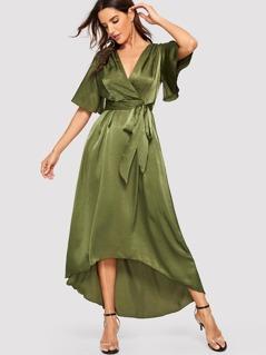 Surplice Wrap Asymmetrical Hem Belted Satin Dress