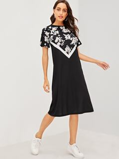 Floral Yoke Cut-and-sew Tee Dress