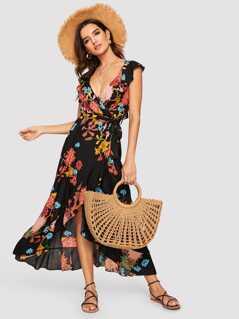 Flounce Trim Belted Wrap Floral Dress