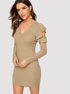 Ruffle Open Shoulder Rib-knit Bodycon Dress