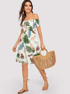 Tropical Print Off-the-shoulder Short Dress