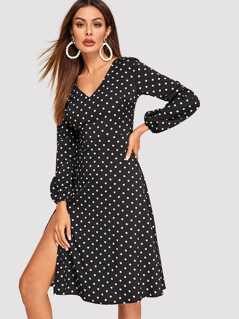 Polka Dot Split Side Bishop Sleeve Zip Back Dress