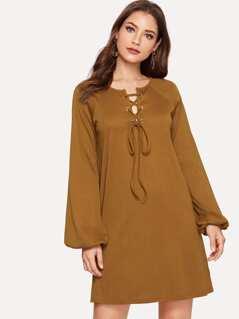 Lace Up Front Rib-knit Dress