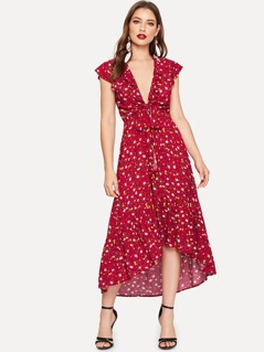 Knot Front Plunge Ditsy Floral Dress