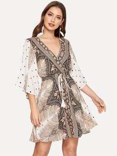 Drawstring Waist Surplice Paisley Kimono Dress