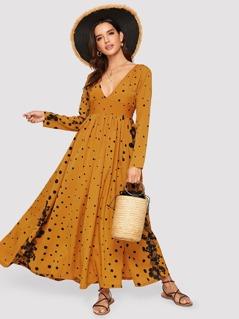 Deep V-neck Floral & Polka Dot Split Dress