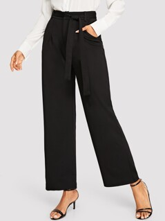 Wide Leg Tailored Pants With Belt