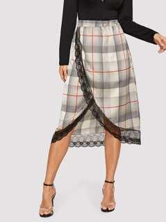 Lace Trim Overlap Plaid Skirt