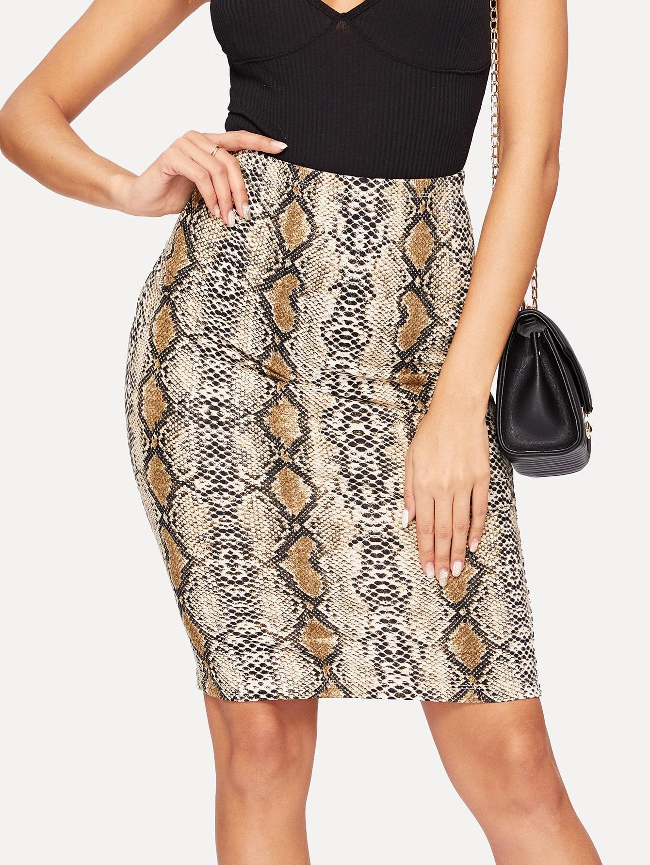 Купить Облегающая юбка с змеиным принтом, Giulia, SheIn