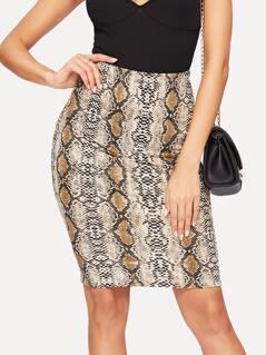 Snake Skin Print Bodycon Skirt