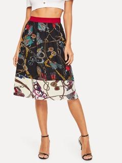 Color Block Chain Print Skirt