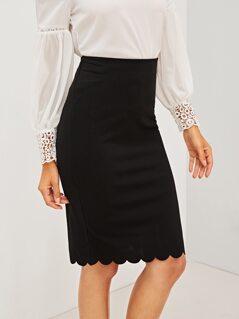 Scallop Hem Zip Back Pencil Skirt