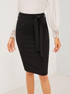 Belted Zip Back Pencil Skirt