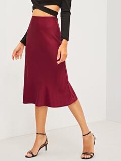 Zipper Side Knee Length Flare Skirt