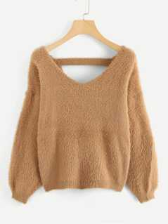 Twist Back Fuzzy Sweater