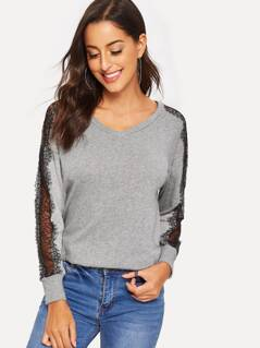 Lace Insert Sleeve Pullover Tee