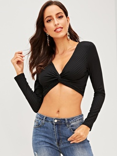 Twist Rib-Knit Crop Pullover Tee