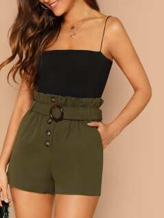 Frill Waist Belted Front Button Detail Shorts