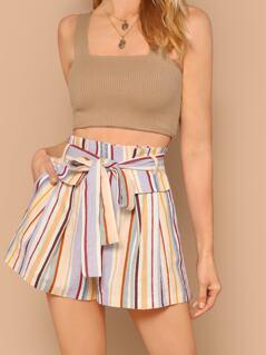 Waist Tie Flap Detail Linen Striped Shorts