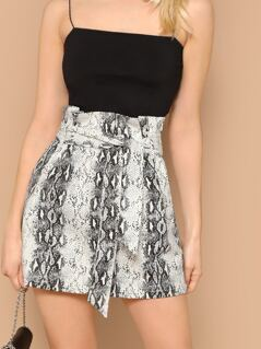 Snake Print Paperbag Waist Side Zip Mini Skirt