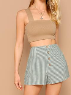 Button Front Striped High Waisted Shorts