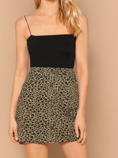 Leopard Button Front Twill High Waist Mini Skirt