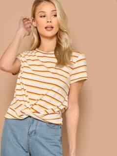 Round Neck Short Sleeve Knot Detail Stripe T-Shirt