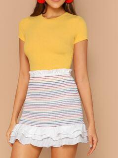 Smocked Rainbow Tiered Ruffle Hem Skirt