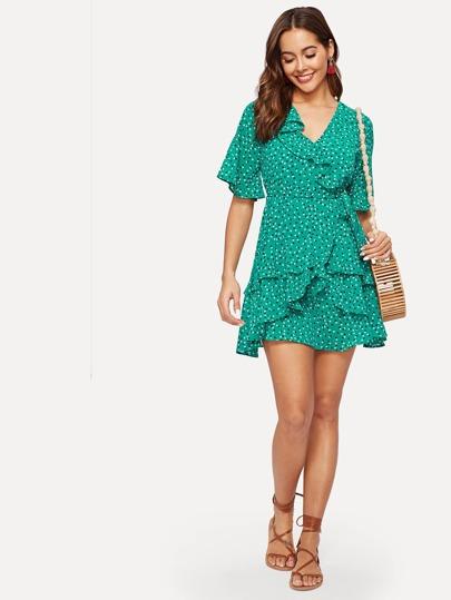 SheIn / Calico Print Ruffle Trim Wrap Chiffon Dress