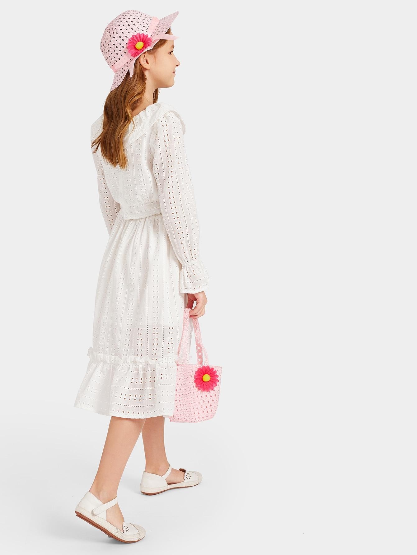 Купить Оплетённая шляпа с цветом и соломенная сумка 2 шт для девочек, null, SheIn