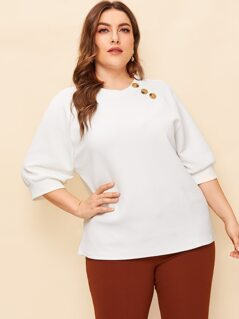 Plus Buttoned Neck Raglan Sleeve Textured Top