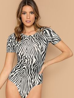 Zebra Print Fitted Bodysuit