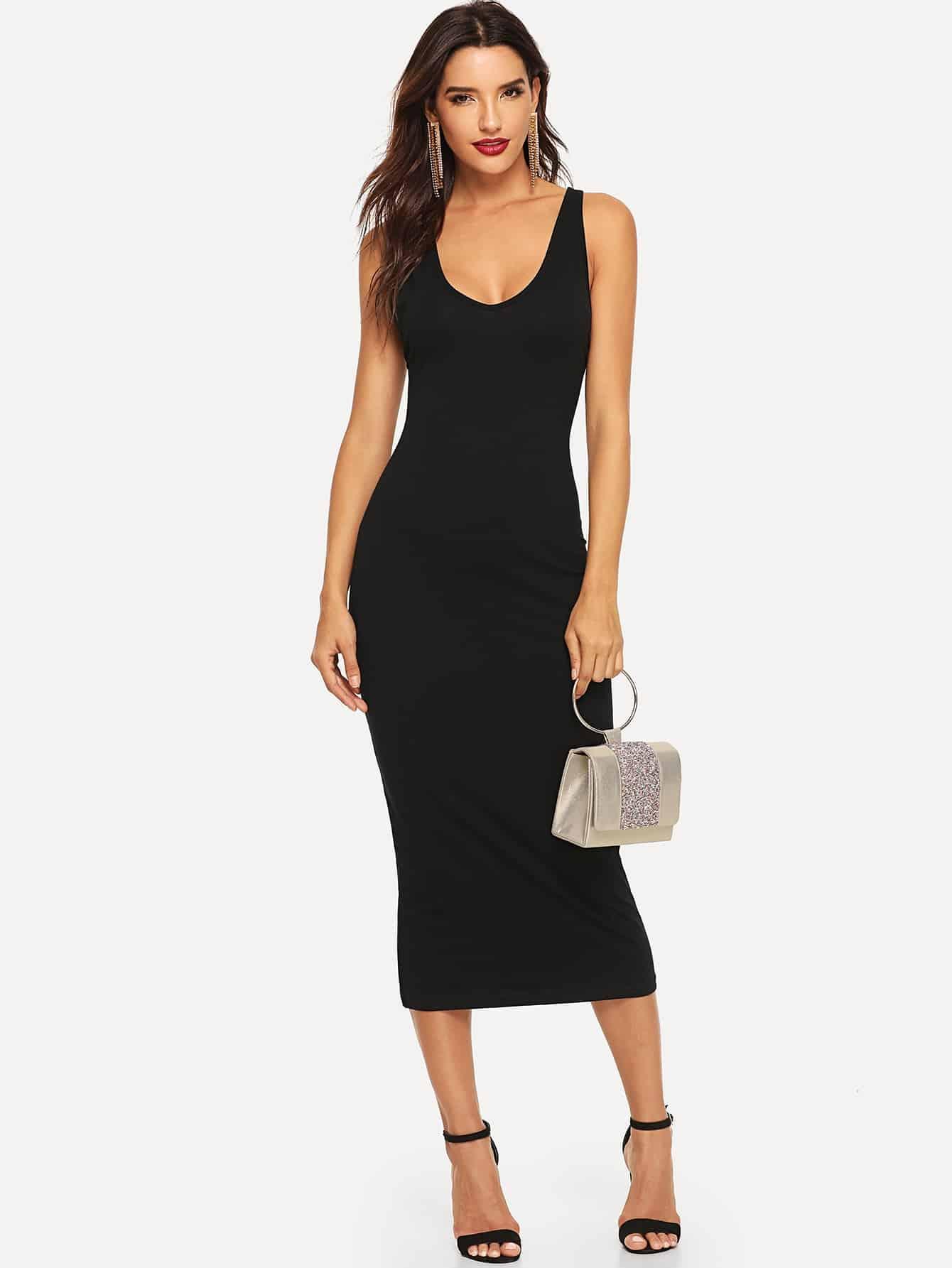 Купить Прилегающее платье с крестообразной лентой сзади, Juliana, SheIn