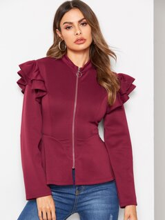 Layered Ruffle Trim Zip Up Peplum Jacket