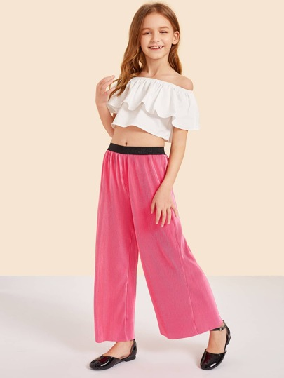 Girls Ruffle Bardot Crop Top & Wide Leg Pants Set