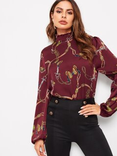 Chain Print Shirred Neck Blouson Sleeve Blouse