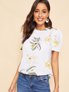 Keyhole Back Pleated Floral Top