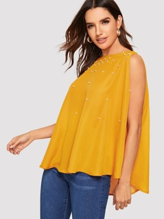 Pearls Beaded Boat Neck Cape Top