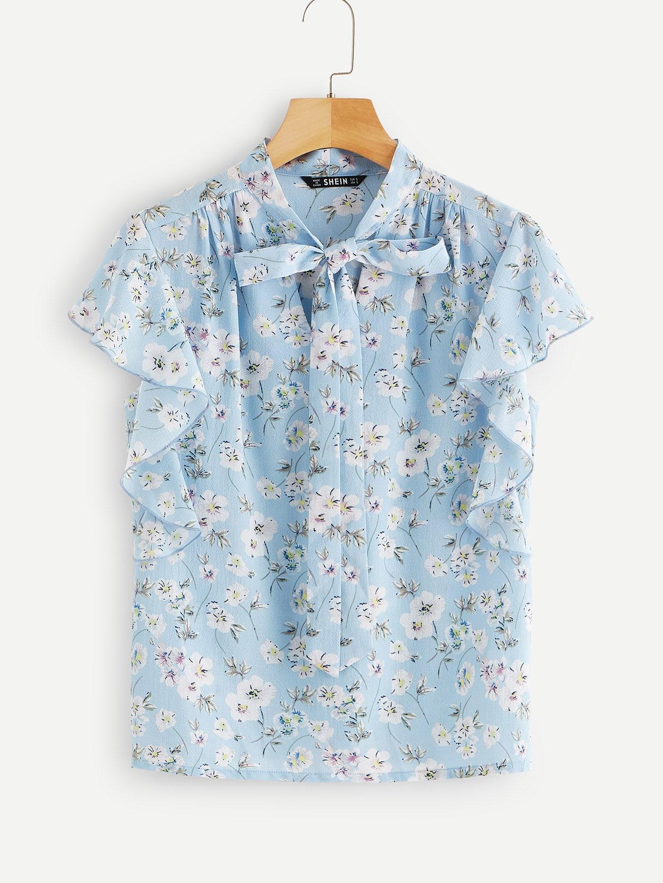 Купить Цветочная блузка с оригинальным рукавом и завязкой на шее, null, SheIn
