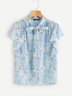 Tie Neck Ruffle Sleeve Floral Print Blouse