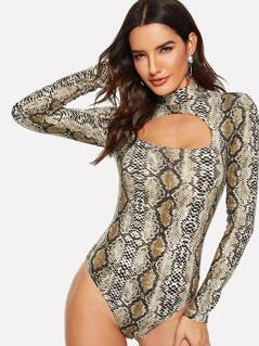 Keyhole Front Snakeskin Fitted Bodysuit