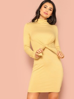 Mock Neck Knot Front Striped Fitted Dress