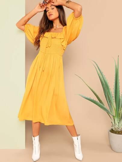 Ruffle Trim Lantern Sleeve Smocked Dress